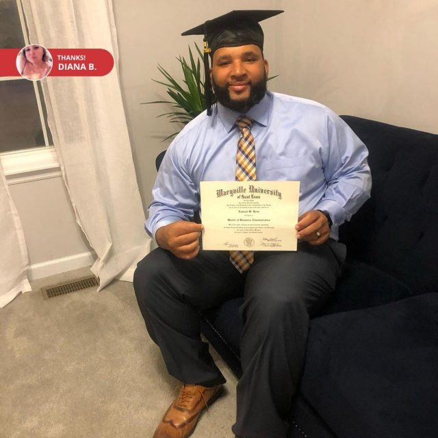 """""""Since Lamont couldn't walk this year we celebrated at home! We're so proud of you baby! #mba #maryvilleuniversity"""" Congrats, Lamont! 🎓 Who else is still celebrating the #MaryvilleOnline Class of 2020? 🎉 Tag us in your graduation and post-grad pics to show us how you're keeping the celebration going!"""