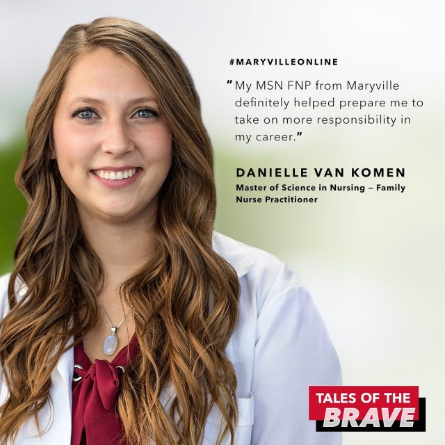 """""""Graduating from Maryville helps me to better myself for the future, and for my family.""""   Danielle Van Komen enjoys helping people get through traumatic experiences. So, she decided to put herself in a position to make a difference by earning her MSN online. Check out the link in our bio to read how her passion for helping people — and her love for the @StLouisBlues — put her on a trajectory that changed her life.   #maryvilleuniversity #maryvilleonline #maryvillepride #nursing #futurenursepractitioner #nursingschool #inspired #inspireothers #positivethinking #pushyourself #challengeyourself #success #motivated #motivateyourself #motivateyou #motivateothers #mindfulness"""