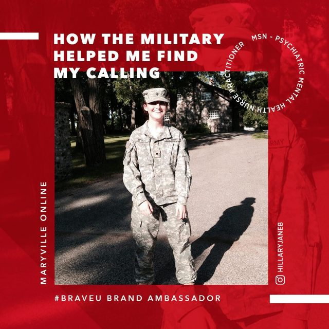 """""""Eleven years I spent in a military role, in the army, finding my purpose and identity, serving in a career in which the price of failure was great and the joys of success abundant.""""    Learn more about how Maryville Online #BraveU ambassador Hilary's military experience led to her calling as a mental health professional. Tap the link in our bio.   #maryvilleonline #maryvilleuniversity #maryvilleu #pmhnp #pmhnpstudent #pmhnptobe #nursingschool #nursingstudent #nursepractitionerstudent #mentalhealthwarrior #helpveterans #mentalhealth #mentalhealthcare #essentialworkers #healthheroes #iamessential #thankanurse #militaryveteran #army #armyveteran"""