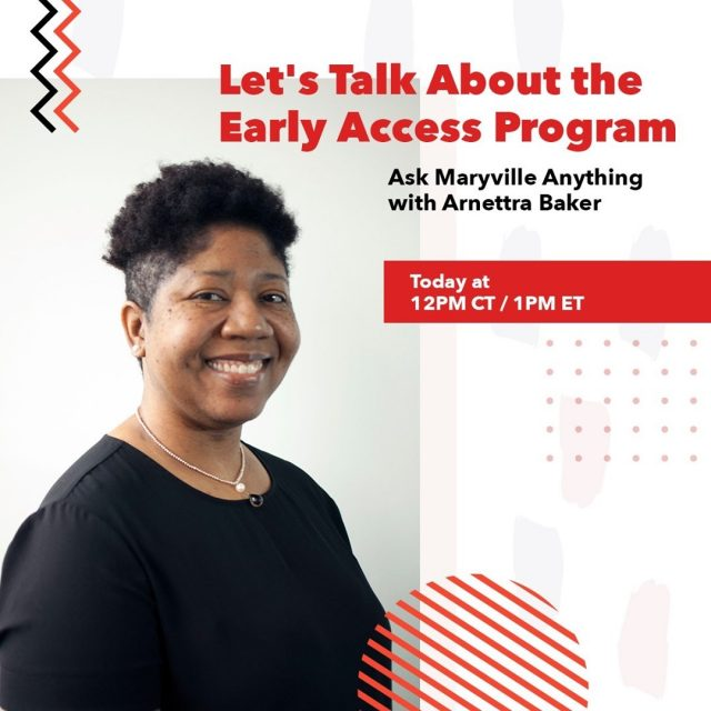 Find out how to save time and tuition while getting a head start on your master's degree. Student Advisor Arnettra Baker will be taking over our Instagram Stories at 2pm CT/1pm ET for a special 'Ask Maryville Anything' on our Early Access program.   #maryvilleonline #maryvilleuniversity #maryvilleu #forwardprogress #nextstep #takethenextstep #keepmoving  #keepitreal #newchapter #growth #trustyourself #changeyourlife #focusonyourself #befearless #startsomewhere #getstarted #getstartedtoday #makeithappen #makeachange #improveyourlife #nextchapter #nextchapterinlife #nextchapterbegins #mastersdegree #gradschool
