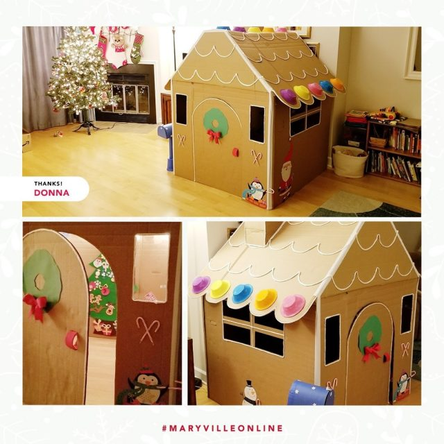 """""""This year, my wife and I created a gigantic cardboard gingerbread playhouse for our almost two-year-old son after we got some big boxes delivered. We used craft supplies from around the house, and even added some string lights and his felt tree inside. The magic is real! Our two kitty cats love it too.""""   This looks like an incredible new holiday tradition, Donna K.! Thanks for sharing and helping us spread holiday cheer this year. #MaryvilleOnline   #maryvilleonline #maryvilleuniversity #maryvilleu #happyholidays #merrychristmas #holidaycheer #gingerbreadhouse"""