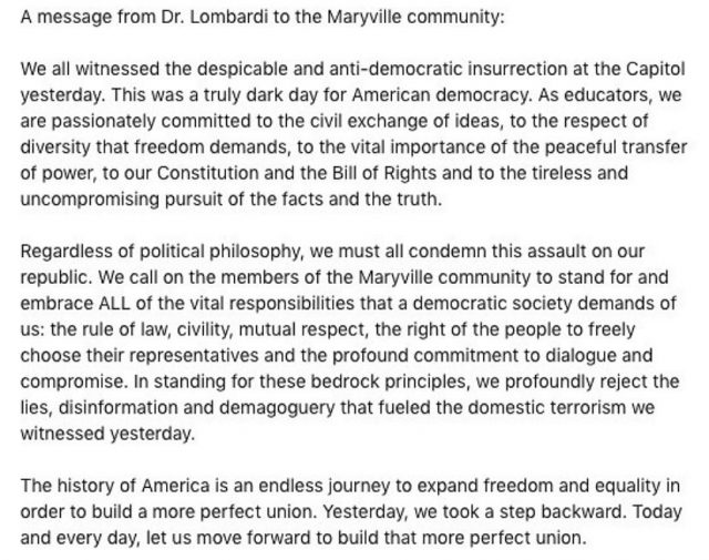 A message from Dr. Lombardi to the Maryville community  (note: this can also be found at maryville.edu/mpress)  Repost @maryvilleu