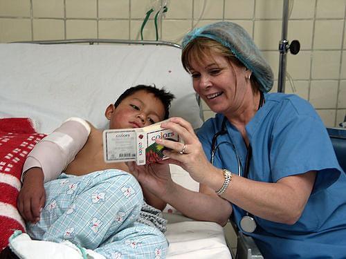 A nurse and a patient.