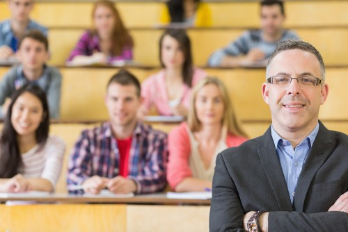 University administrator in a classroom setting