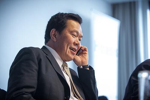 A CFO takes a phone call.